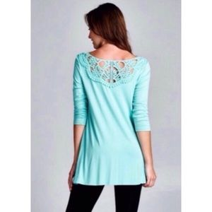 Mint Crocheted Lace Yoke Tunic NWOT